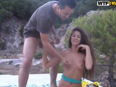 Two russians men ficking lady outdoor